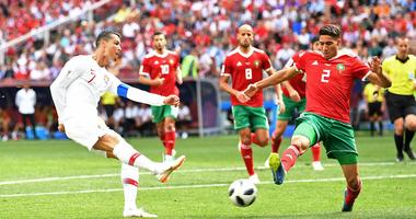 Portugal forward Cristiano Ronaldo (7) and Morocco defender Achraf Hakimi (2) in Group D play during the FIFA World Cup 2018 at Spartak Stadium.