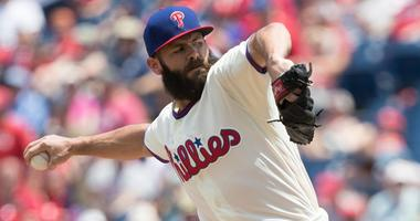 Philadelphia Phillies starting pitcher Jake Arrieta (49) pitches during the first inning against the St. Louis Cardinals at Citizens Bank Park.