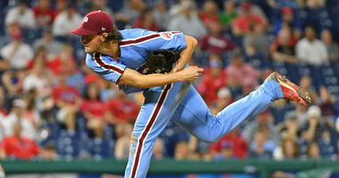 Philadelphia Phillies starting pitcher Aaron Nola (27) follows through on a pitch during the eighth inning against the Washington Nationals at Citizens Bank Park.
