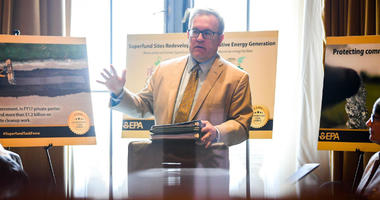 Jul7 26, 2018; Washington, DC, USA; EPA acting administrator Andrew Wheeler talks with EPA staff in the offices of the United States Environmental Protection Agency.