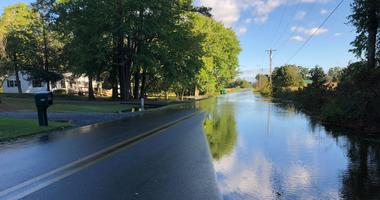 Ditches overflow due to remnants of Tropical Storm Michael.