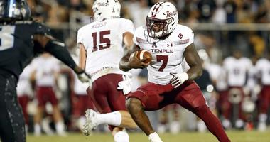 Nov 1, 2018; Orlando, FL, USA; Temple Owls running back Ryquell Armstead (7) runs for a first down during the second quarter against the UCF Knights at Spectrum Stadium.