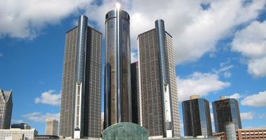 The Renaissance Center, headquarters of General Motors, on the Detroit River in downtown Detroit.
