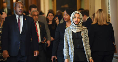 Jan 24, 2019; Washington, DC, USA; Rep. Ilhan Omar (D-MN) and other House Democrat members walking from the Senate Chambers after the Senate voted to reject a pair of dueling bills Thursday to fund the federal government and end the longest partial govern