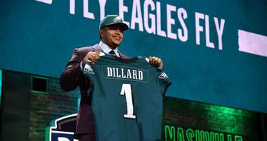 Andre Dillard (Washington State) is selected as the number twenty-two overall pick to the Philadelphia Eagles in the first round of the 2019 NFL Draft in Downtown Nashville.