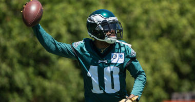 Jun 11, 2019; Philadelphia, PA, USA; Philadelphia Eagles wide receiver DeSean Jackson (10) tosses the ball during Minicamp at Novacare Complex.