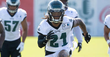 Jul 26, 2019; Philadelphia, PA, USA; Philadelphia Eagles cornerback Ronald Darby (21) runs drills during training camp at Novacare Complex.