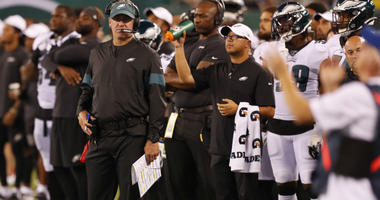Philadelphia Eagles head coach Doug Pederson during the second quarter against the New York Jets at MetLife Stadium.