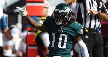 Philadelphia Eagles wide receiver DeSean Jackson (10) reacts after a first down reception in the third quarter against the Washington Redskins at Lincoln Financial Field.