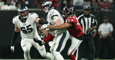 Atlanta Falcons linebacker Vic Beasley (44) sacks Philadelphia Eagles quarterback Carson Wentz (11).