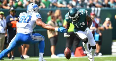 Philadelphia Eagles wide receiver Nelson Agholor (13) fumbles the football during the second quarter against the Detroit Lions at Lincoln Financial Field.