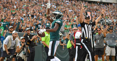 Philadelphia Eagles wide receiver Nelson Agholor (13) scores a touchdown during the fourth quarter against the Detroit Lions at Lincoln Financial Field.