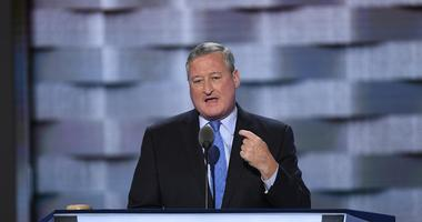 Jul 25, 2016; Philadelphia, PA, USA; Philadelphia mayor Jim Kenney speaks during the 2016 Democratic National Convention at Wells Fargo Arena.