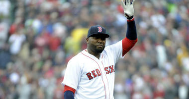 Oct 2, 2016; Boston, MA, USA; Boston Red Sox designated hitter David Ortiz (34) acknowledges the crow as part of pre game ceremonies in his honor prior to a game against the Toronto Blue Jays at Fenway Park.