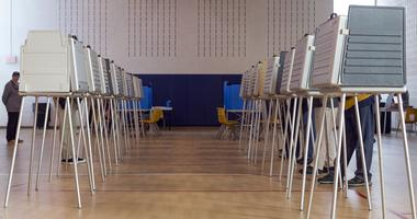 Nov 8, 2016; Detroit, MI, USA; Voting booths slowly fill up at Holden Year-Round Elementary School in Sterling Heights at Precinct 14 and 15 in Macomb County.