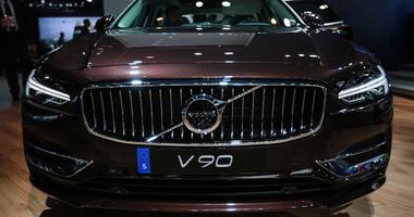 The 2018 Volvo V90 on display at the 2017 North American International Auto Show held at Cobo Center.
