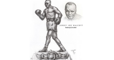 "Artist's rendering of a statue design for local boxing icon ""Jersey Joe"" Walcott."