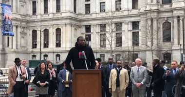 Meek Mill was the final speaker at a rally Pennsylvania House Bill 1925. With bipartisan support, the proposed law would likely cap probation and parole time and provide fixes to a system that reincarcerates thousands for technical vioaltions.