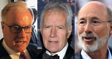 From left: Scott Wagner, Alex Trebek, Tom Wolf