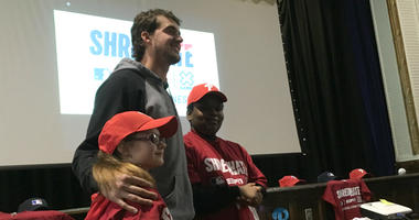 "Aaron Nola delivers the message: ""Shred Hate, Choose Kindness."""