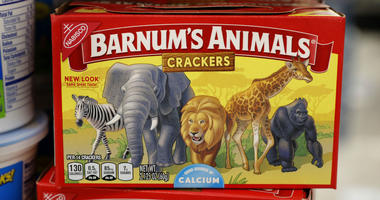 This Monday, Aug. 20, 2018, photo shows a box of Nabisco Barnum's Animals crackers on the shelf of a grocery store in Des Moines, Iowa.