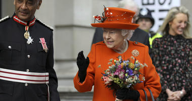 Britain's Queen Elizabeth II reacts during a visit to the Science Museum in London, Thursday March 7, 2019.