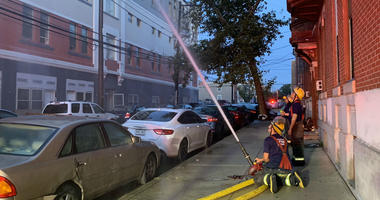 Philly firefighters still on scene hosing down hotspots at a vacant, 4-story apartment building at 1600 West Oxford Street in North Philadelphia.