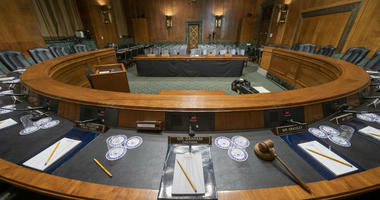 The Senate Judiciary Committee hearing room is prepared for Attorney General William Barr who will face lawmakers' questions Wednesday for the first time since releasing special counsel Robert Mueller's Russia report, on Capitol Hill in Washington.