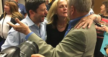 Madeleine Dean is flocked by supporters who feel a victory at the end of a three- person race for the newly drawn 4th District.