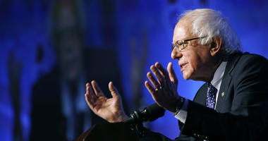 In this April 8, 2019, photo, Democratic presidential candidate Sen. Bernie Sanders, I-Vt., speaks at a convention of the International Association of Machinists and Aerospace Workers in Las Vegas.