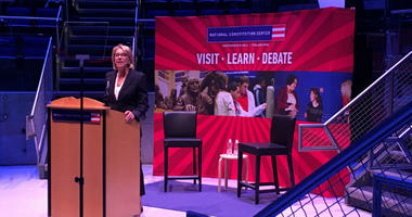 U.S. Education Secretary Betsy DeVos, who is in town for a Constitution Day event, said she believes too many colleges are standing in the way of free speech.