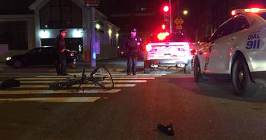 A bicyclist was struck by car at 11th and Vine streets in Philadelphia.