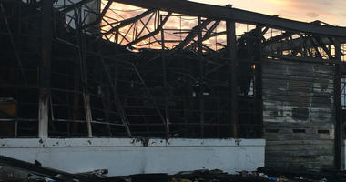 This is all that's left of the service area at Carfagno Chevy, gutted by two-alarm fire.