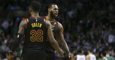 Cleveland Cavaliers forwards LeBron James and Jeff Green