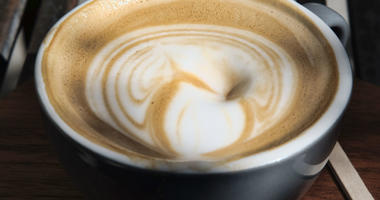 This Thursday, March 29, 2018 photo shows a cup of coffee at a cafe in Los Angeles.