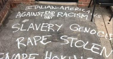 The History of Italian Immigration Museum in East Passyunk Avenue vandalized on Columbus Day 2018.