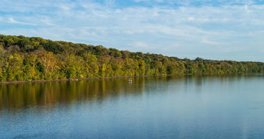 A scenic view of the Delaware river near Washington Crossing State Park.