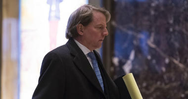 Attorney and United States Federal Election Commission member Don McGahn is seen in the lobby of Trump Tower in New York.