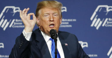 In this April 6, 2019, photo, President Donald Trump speaks at an annual meeting of the Republican Jewish Coalition in Las Vegas.