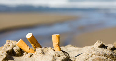 Cigarette butts on the beach