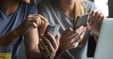 People on phones.