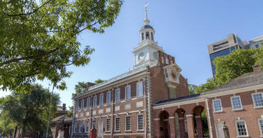 Side view of the Independence Hall in Philadelphia.