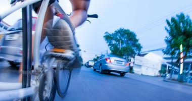 bicyclist in traffic