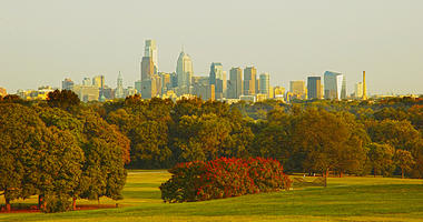 Philadelphia skyline from Fairmount Park across the Schuylkill River.