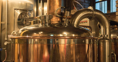 Beer brewery kettles used in the manufacture and creation of beer.