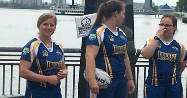 Drexel women's rugby players demonstrate the sport at the Battleship New Jersey in advance of the 2018 Collegiate Rugby Championships.