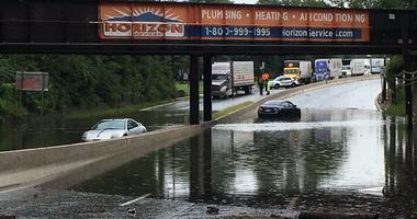 Two cars drowned in deep floodwaters on Rt 130 near Maple Ave in Pennsauken