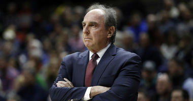 Temple Owls head coach Fran Dunphy watches from the sideline as they take on the Connecticut Huskies in the first half at Gampel Pavilion. Temple defeated UConn 78-71.