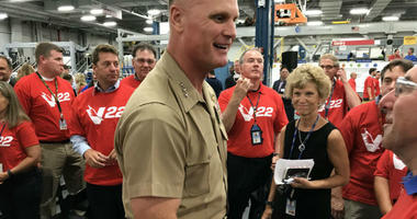 Lt. Gen. Stephen Rudder celebrates Boeing Philadelphia's $4 billion, multi-year contract to continue production of the V-22 Osprey.