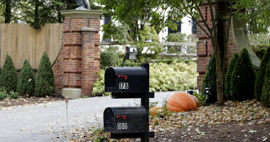 Mailboxes stand outside the entrance to a house owned by philanthropist George Soros in Katonah, N.Y., a suburb of New York City, Tuesday, Oct. 23, 2018.